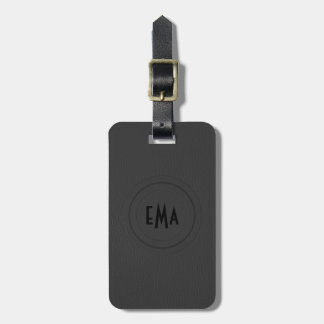 Monogram Black Leather Look Bag Tag