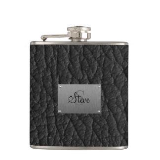 Monogram Black Leather Look Flask