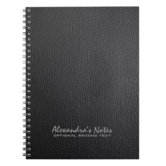 Monogram Black Leather Texture Look Note Book