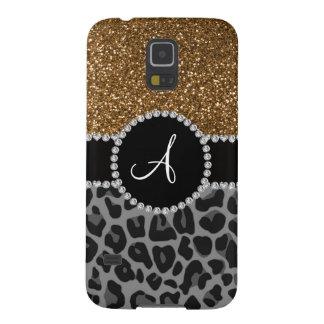 Monogram black leopard gold glitter galaxy s5 cases