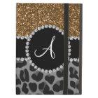 Monogram black leopard gold glitter iPad air case