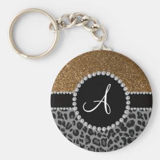 Monogram black leopard gold glitter keychains