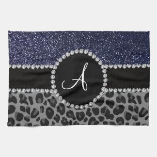Monogram black leopard navy blue glitter tea towel