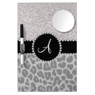 Monogram black leopard silver glitter dry erase board with mirror