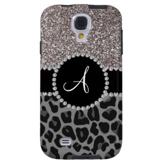 Monogram black leopard silver glitter galaxy s4 case