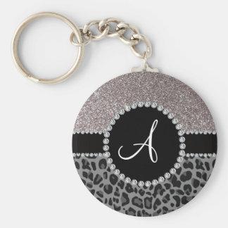 Monogram black leopard silver glitter key ring