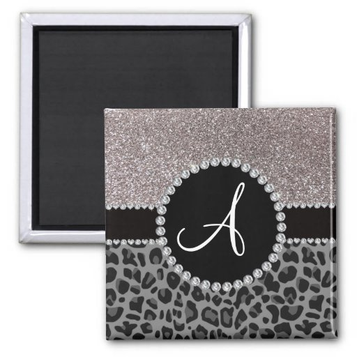 Monogram black leopard silver glitter refrigerator magnets