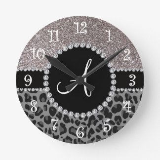 Monogram black leopard silver glitter round clock