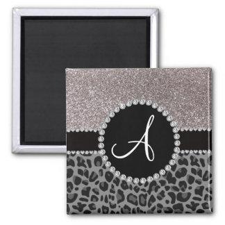 Monogram black leopard silver glitter square magnet