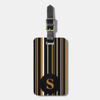 Monogram Black Matte Gold Barcode Circle Stripe Luggage Tag