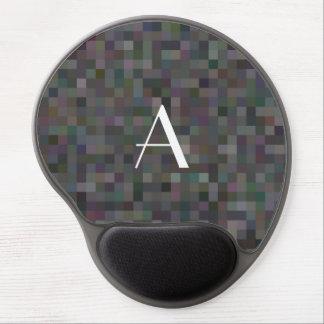 Monogram black mosaic squares gel mouse pad