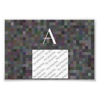 Monogram black mosaic squares photographic print