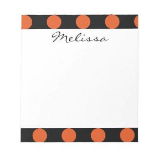 Monogram Black Orange Chic Polka Dot Pattern Notepad