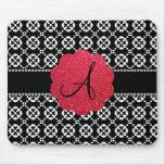 Monogram black ornamental hearts