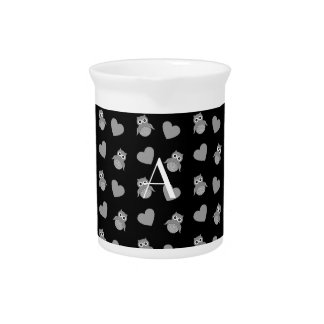 Monogram black owls and hearts pitchers