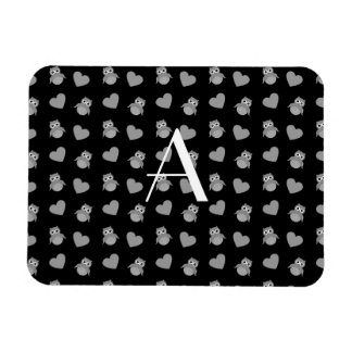 Monogram black owls and hearts flexible magnets