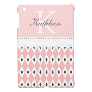 Monogram Black & Pink Argyle  iPad Mini Case