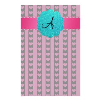 Monogram black pink hearts and stripes stationery paper