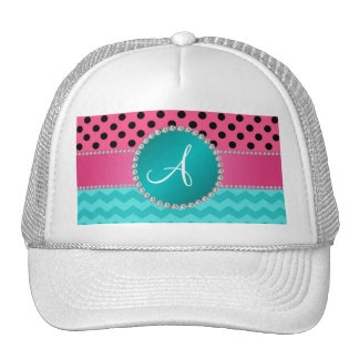 Monogram black pink polka dots turquoise chevrons cap