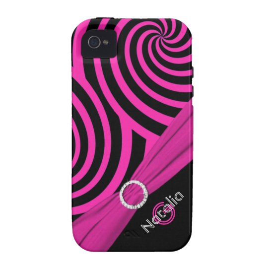 Monogram Black Pink Swirly Stripes iPhone 4 Vibe Vibe iPhone 4 Cases