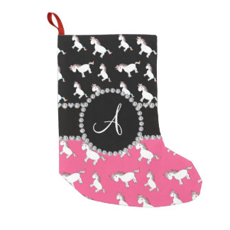 Monogram black pink unicorn pattern small christmas stocking