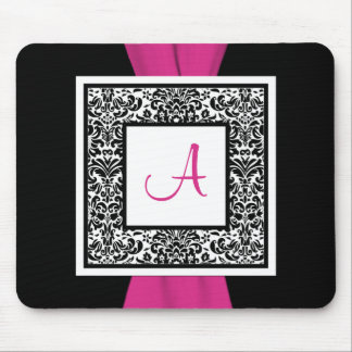 Monogram Black, Pink, White Damask Mousepad