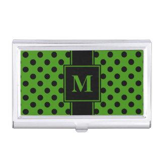 Monogram Black Polka Dot on Green Business Card Holder