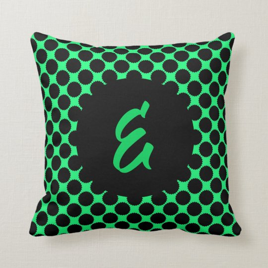 Monogram Black Polka Dots On Kiwi Green Cushion