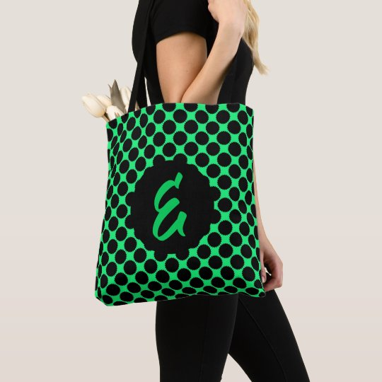 Monogram Black Polka Dots On Kiwi Green Tote Bag