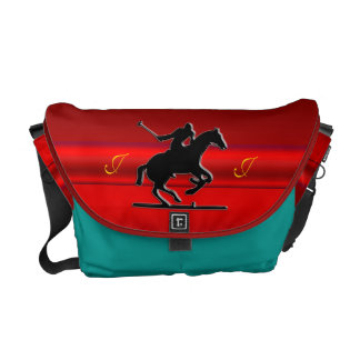 Monogram Black Polo Rider, red chrome-look Commuter Bag