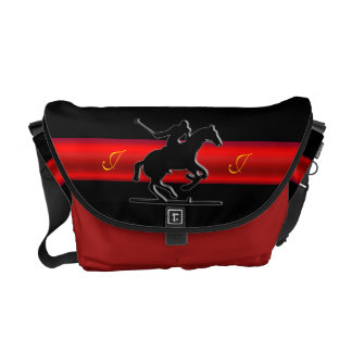 Monogram Black Polo Rider, red chrome-look stripe Courier Bag