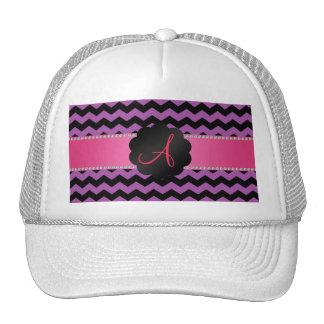 Monogram black purple lilac chevrons cap