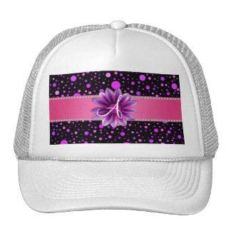Monogram black purple polka dots pink daisy hats