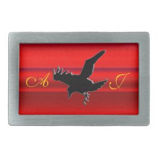 Monogram, Black Raven logo on red chrome-effect Rectangular Belt Buckle