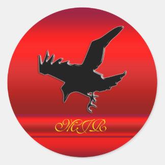 Monogram, Black Raven logo on red chrome-effect Round Sticker