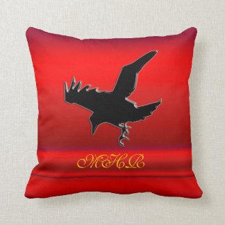 Monogram, Black Raven logo on red chrome-effect Throw Pillow