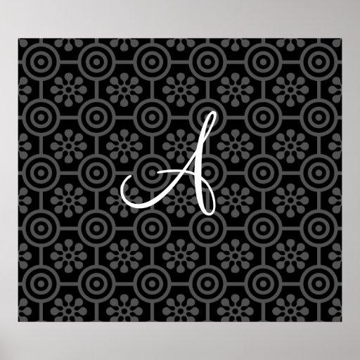 Monogram black retro flowers and circles poster