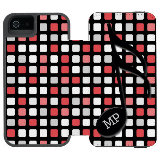Monogram Black Semi Quaver Red Gray Mosaic Incipio Watson™ iPhone 5 Wallet Case