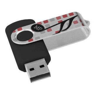 Monogram Black Semi Quaver Red Gray Mosaic USB Flash Drive