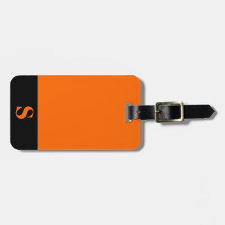 Monogram Black Stripe on Orange Luggage Tag