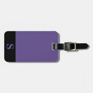 Monogram Black Stripe on Ultra Violet Purple Luggage Tag