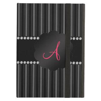 Monogram black stripes iPad air cover