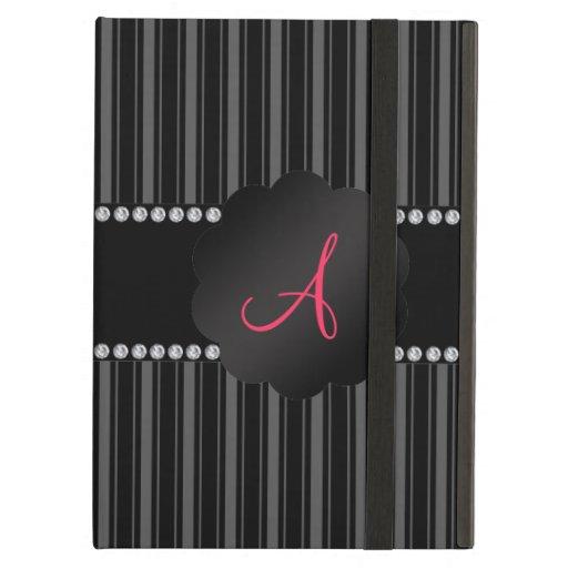 Monogram black stripes iPad folio case
