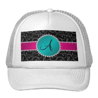 Monogram black swirls turquoise circle cap