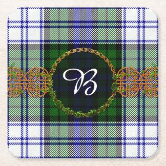 Monogram Black Watch Fashion Tartan Square Paper Coaster