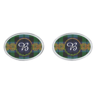 Monogram Black Watch Military Tartans Silver Finish Cuff Links