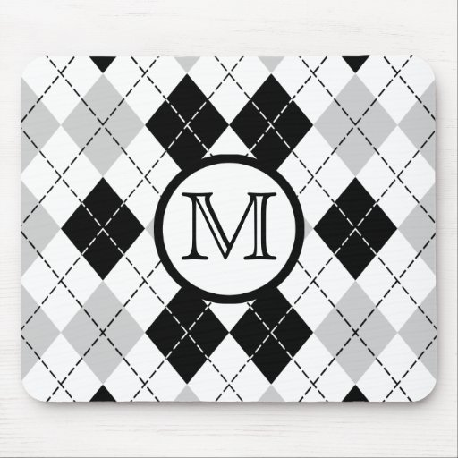 Monogram Black White and Gray Argyle Mousepad