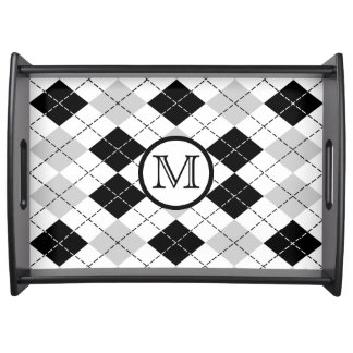 Monogram Black White and Gray Argyle Serving Tray