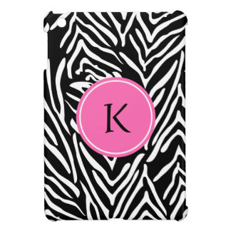 Monogram Black, White and Hot Pink Zebra Print iPad Mini Cover