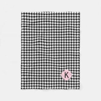 Monogram Black, White and Pastel Pink Houndstooth Fleece Blanket